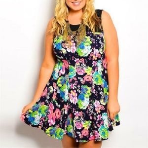 Plus Size Floral Print Sleeveless Flare Dress